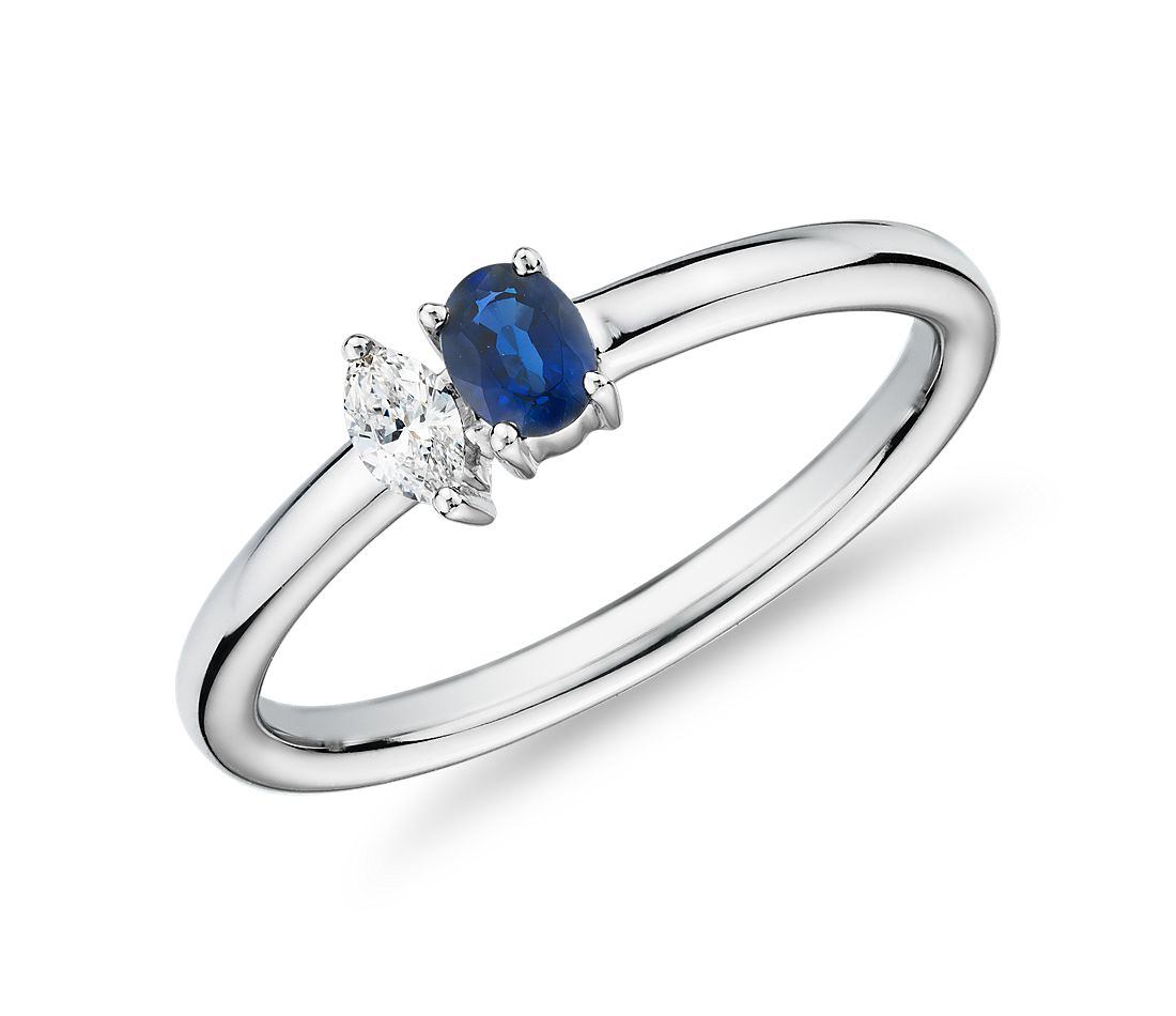 Sapphire and Diamond Duo Stacking Ring in 14k White Gold (4x3mm)