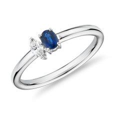 14k 白金蓝宝石与钻石双叠戴戒指<br>(4x3毫米)