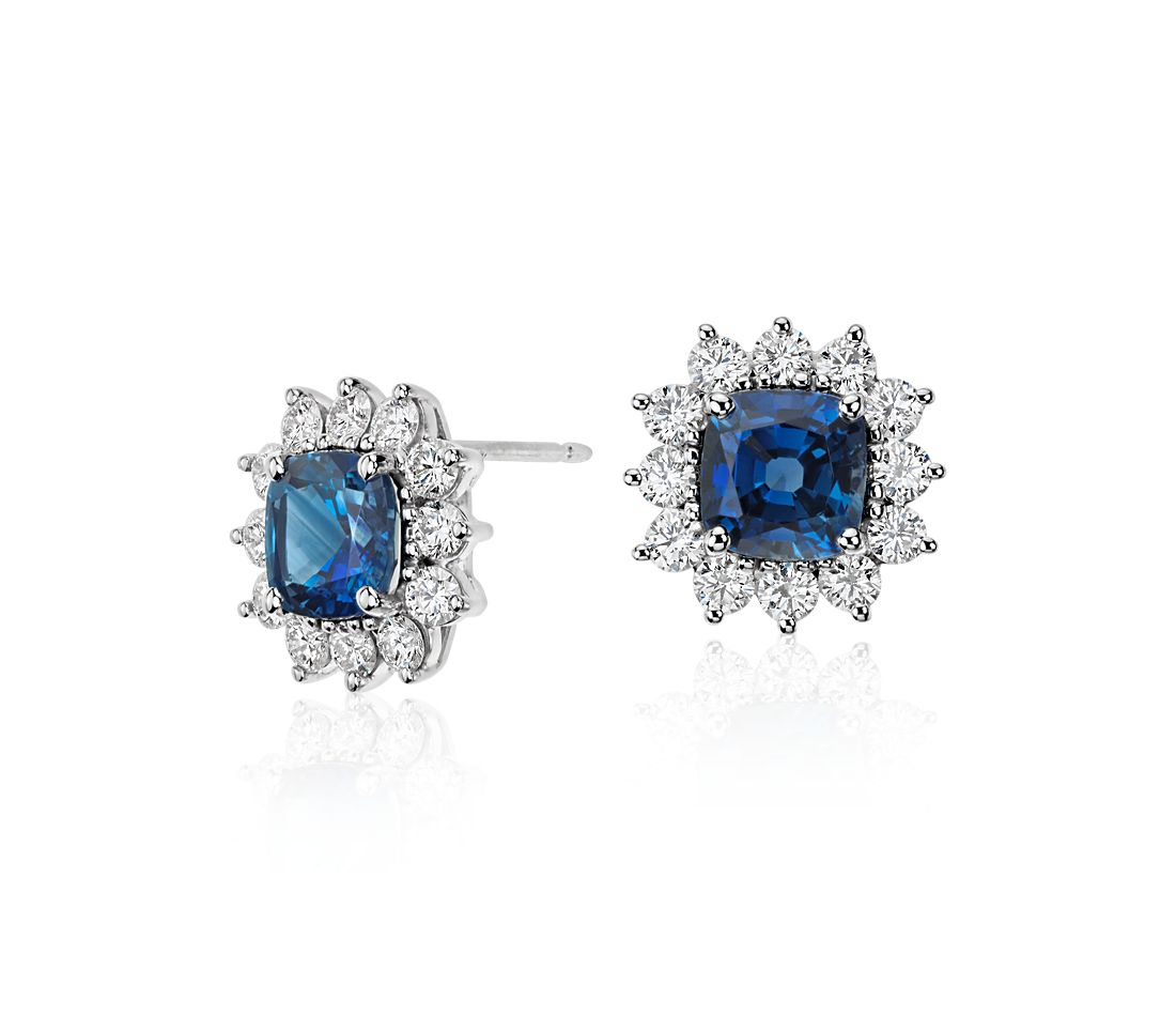 Cushion Cut Sapphire and Diamond Earrings in 18k White Gold (4.28 ct. tw.) (7.1x7.1mm)