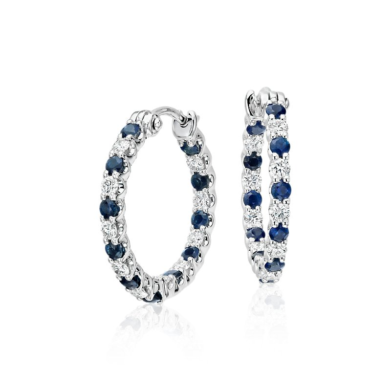 Luna Sapphire and Diamond Hoop Earrings in 18k White Gold (2mm)