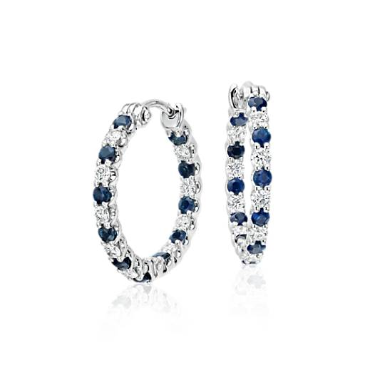 Luna Sapphire And Diamond Hoop Earrings In 18k White Gold