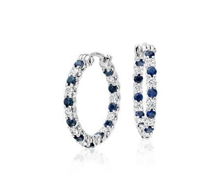 18k 白金 Luna 藍寶石鑽石圈形耳環<br>( 2毫米)