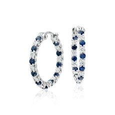Luna Shire And Diamond Hoop Earrings In 18k White Gold 2mm