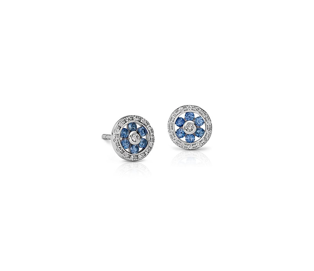 sapphire stud yellow gold round blue mens earrings genuine