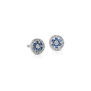 Sapphire and Diamond Floral Stud Earrings in 14k White Gold (1.5mm)