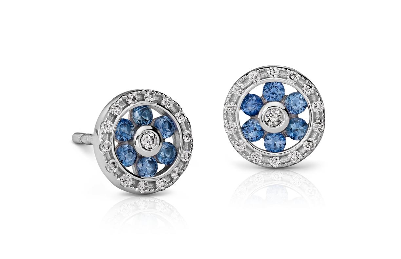 Puces d'oreilles diamant et saphir bleu en or blanc 14carats (1,5mm)