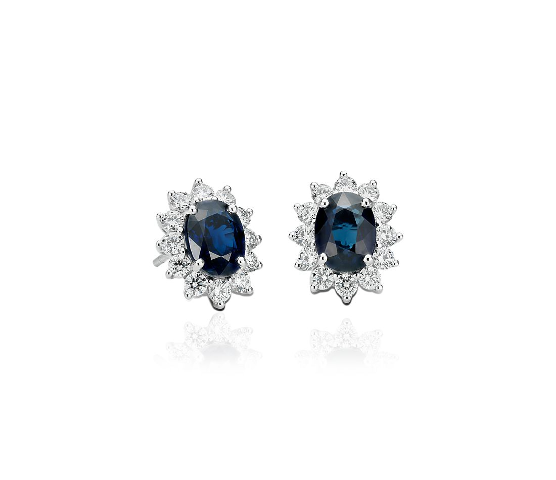 sapphire earrings with diamonds sapphire and earrings in 18k white gold 7x5mm 3915
