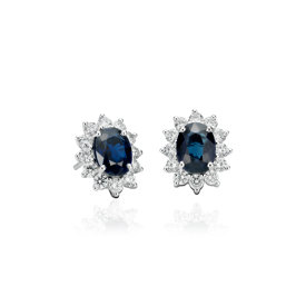 Sapphire and Diamond Earrings in 18k White Gold (7x5mm)