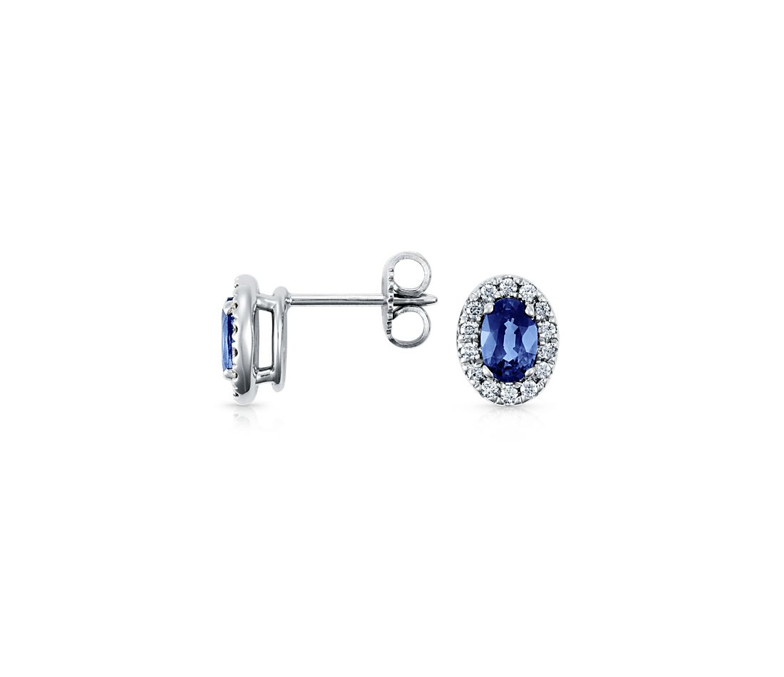 Oval Sapphire and Pavé Diamond Earrings in 18k White Gold (6x4mm)