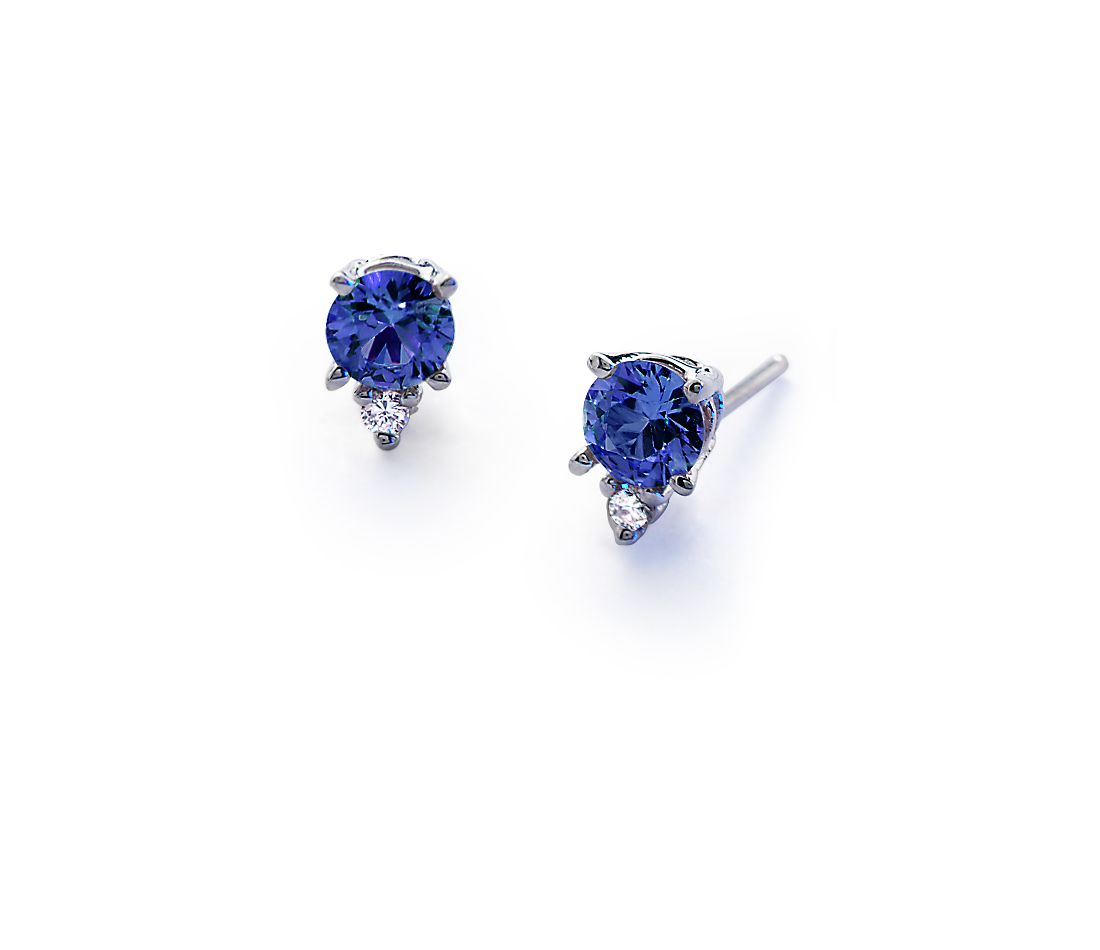 Sapphire And Diamond Stud Earrings In 18k White Gold (45mm)