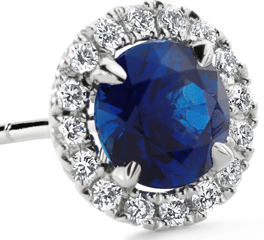 Boucles d'oreilles en diamants sertis micro-pavé et saphir bleu en or blanc 18carats (5mm)