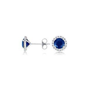 Boucles d'oreilles en diamants sertis micro-pavé et saphir en or blanc 18carats (6mm)