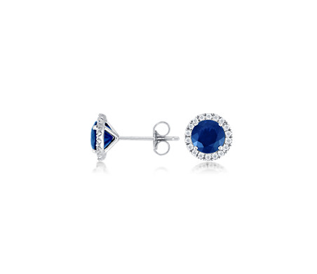 halo gold sapphire gemstone pid saphire and blue earrings diamond white