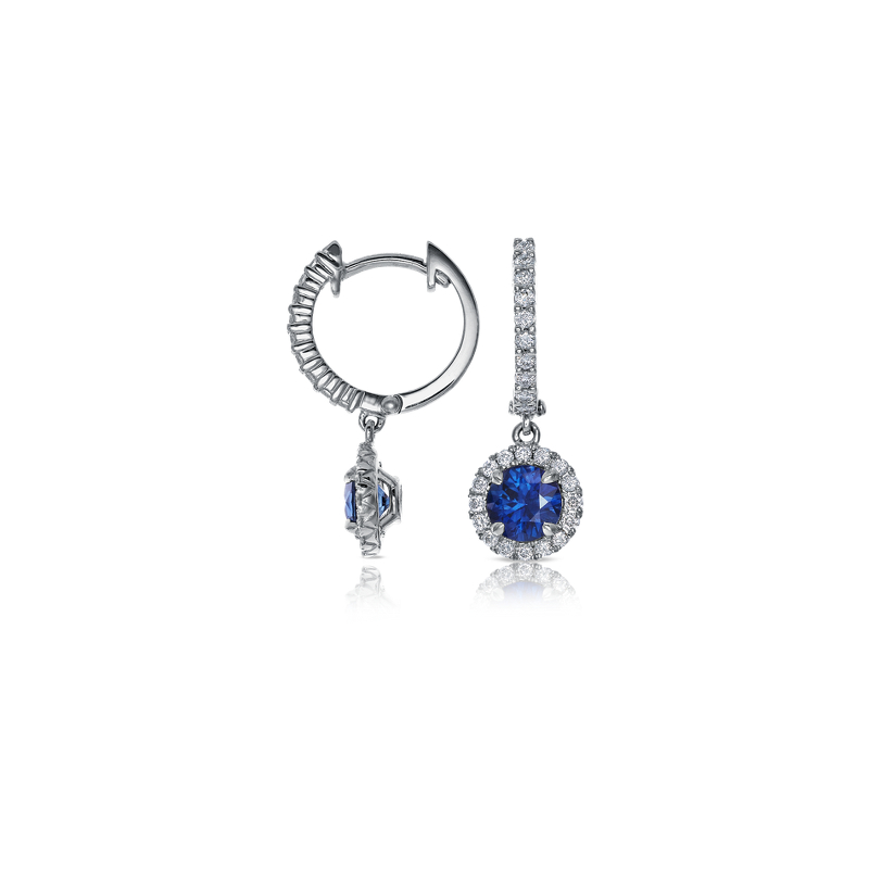 Sapphire and Diamond Micropavé Drop Earrings in 18k White