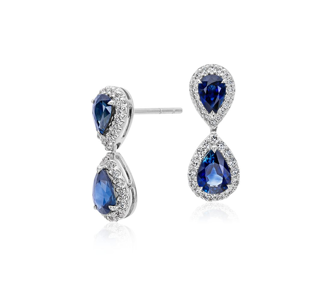 Pear Shape Sapphire and Diamond Halo Earrings in 18k White Gold (7x5mm)
