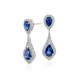 Sapphire and Diamond Halo Drop Earrings in 18k White Gold (7x5mm)