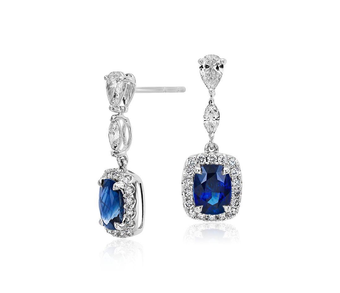 sapphire earrings with diamonds cushion sapphire and halo dangle earrings in 18k 2854
