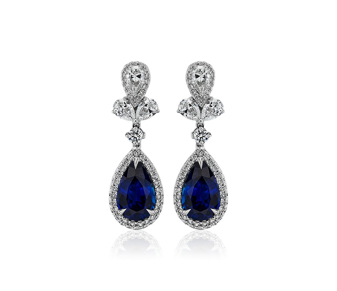 Triomphe Pear Shape Sapphire and Diamond Drop Earrings in 18k White Gold (3.37 cts)