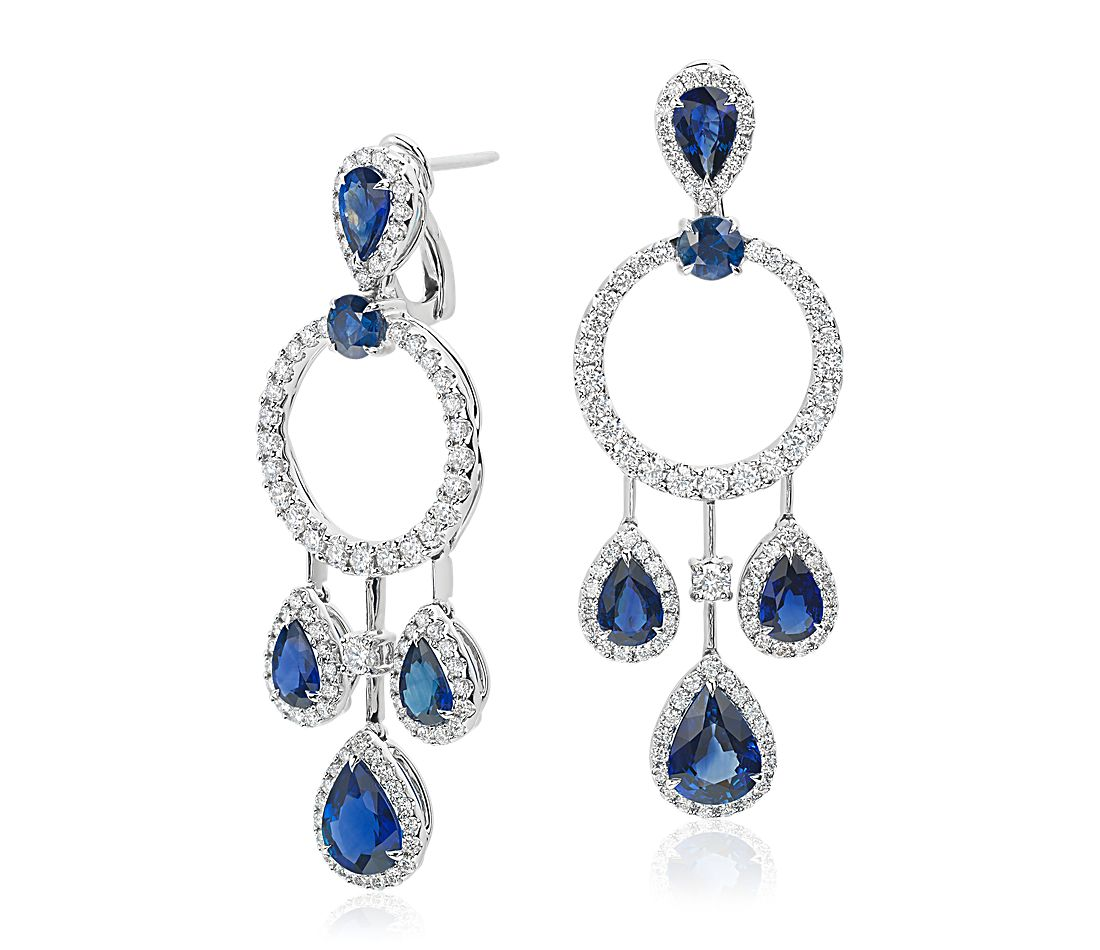 Pear Shape Sapphire and Diamond Drop Earrings in 18k White Gold (5.69 ct. tw.)