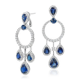Pear Shape Sapphire and Diamond Dangle Earrings in 18k White Gold (5.69 ct. tw.)