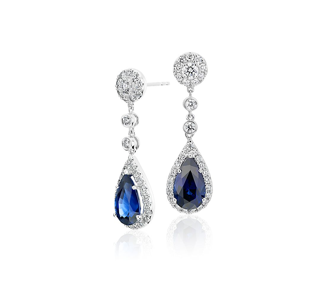 Sapphire and Diamond Drop Earrings in 18k White Gold (4.75 ct. tw.)