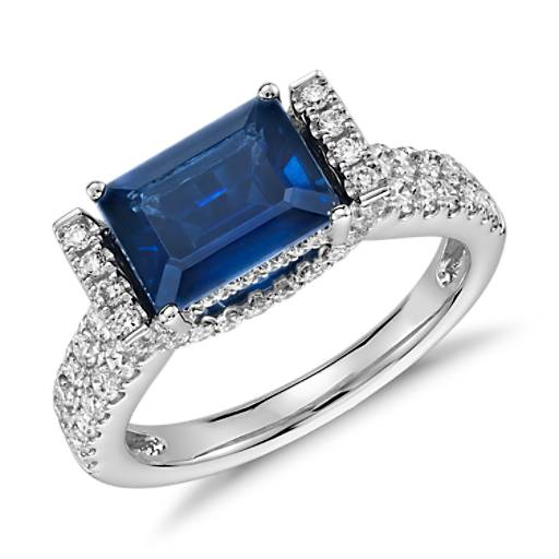 East West Set Emerald-Cut Sapphire And Diamond Ring (8x6