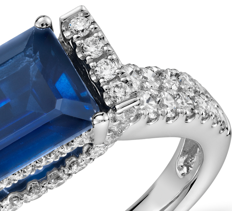 East West Set Emerald-Cut Sapphire and Diamond Ring (8x6)