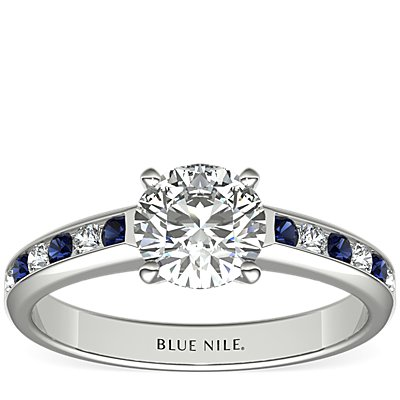 Channel Set Sapphire and Diamond Engagement Ring in 18k White Gold