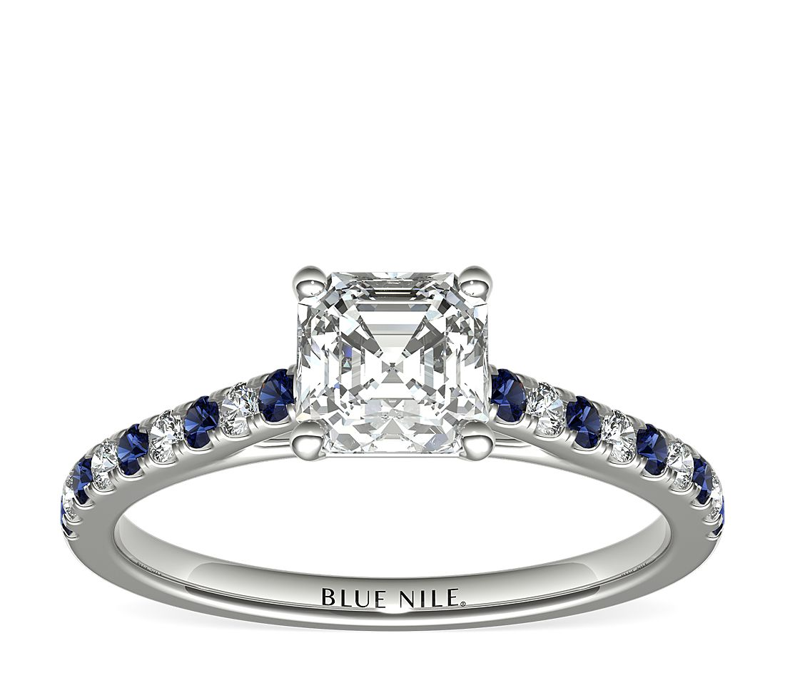 1.01ct.AS in *Delicate* Pave Sapphire & Diamond Petite Cathedral Engagement Ring in 14k White Gold