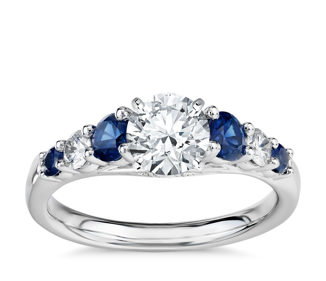 graduated sapphire and diamond engagement ring in 14k With wedding ring with sapphires and diamonds