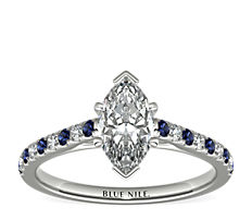 Riviera Micropavé Sapphire and Diamond Engagement Ring in 14k White Gold (0.10 ct. tw.)