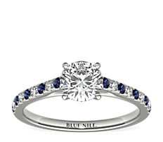 14k 白金Riviera 微密釘藍寶石與鑽石訂婚戒指