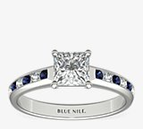 Channel Set Sapphire and Diamond Engagement Ring
