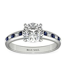 18k 白金槽镶蓝宝石与钻石订婚戒指<br>(1/6 克拉总重量)