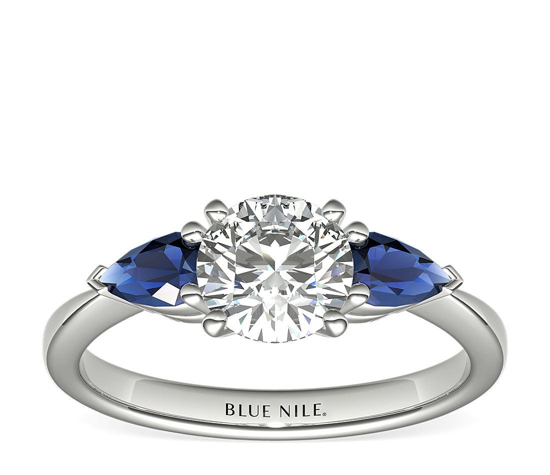 8dcd0af2f Classic Pear Shaped Sapphire Engagement Ring in Platinum | Blue Nile