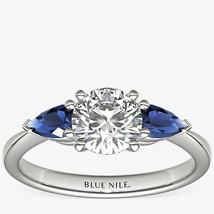 Sapphire Sidestone Engagement Ring