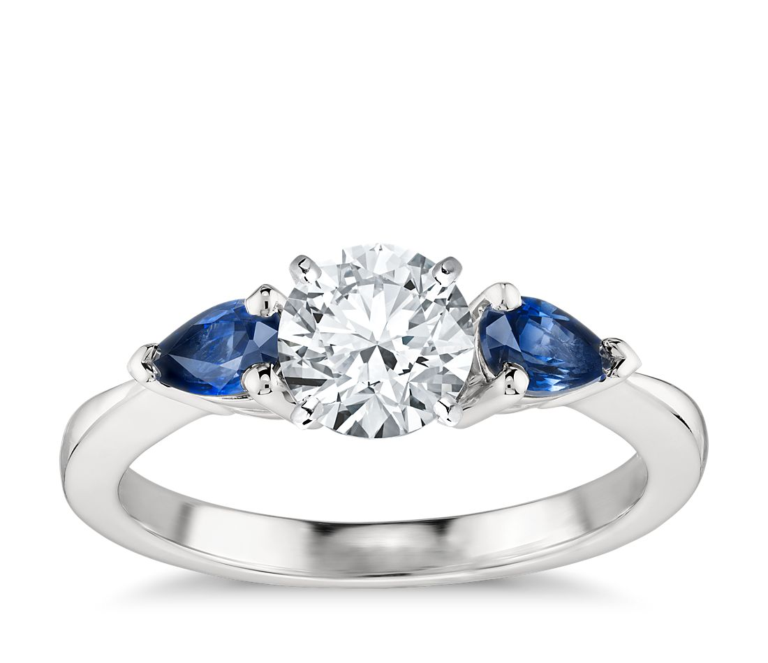 classic pear shaped sapphire engagement ring in platinum blue nile. Black Bedroom Furniture Sets. Home Design Ideas