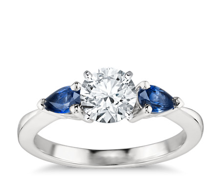 ring blue diamond wedding band sapphire alternating bands
