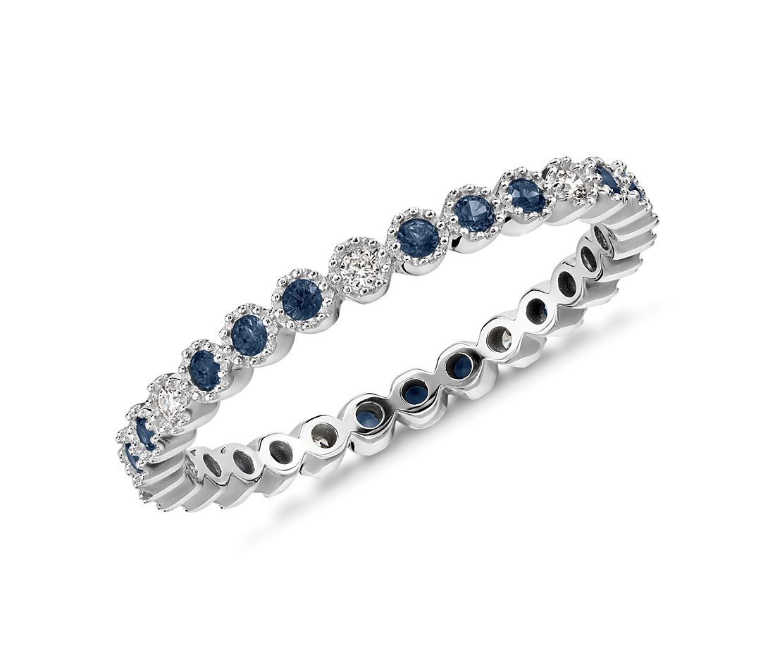 Sapphire and Diamond Eternity Ring in 14k White Gold (1.3mm )