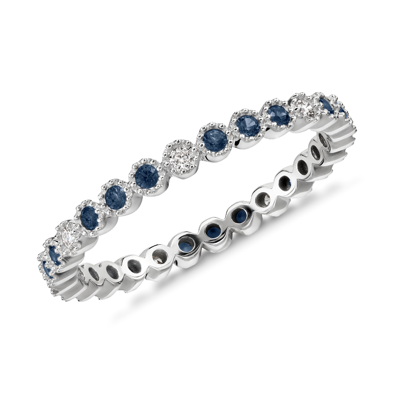 Sapphire and Diamond Eternity Stacking Ring in 14k White Gold (1.