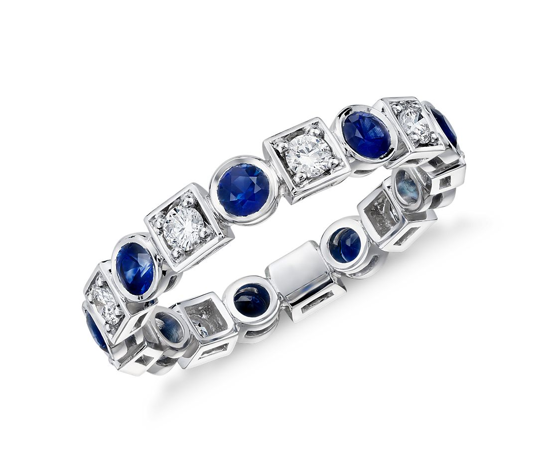 Deco Sapphire And Diamond Eternity Ring In 18k White Gold