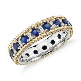 Bague d'éternité corde en saphir bleu et diamant en or jaune et blanc 18carats
