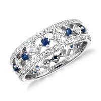 BlueNile deals on Gala Sapphire and Diamond Eternity Ring in 18k White Gold