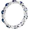 18k 白金 藍寶石鑽石椭圆永恆戒指