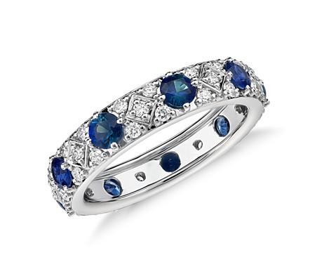 18k 白金星光蓝宝石与钻石永恒戒指