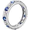 Anillo de eternidad de diamantes y zafiros brillantes en oro blanco de 18 k