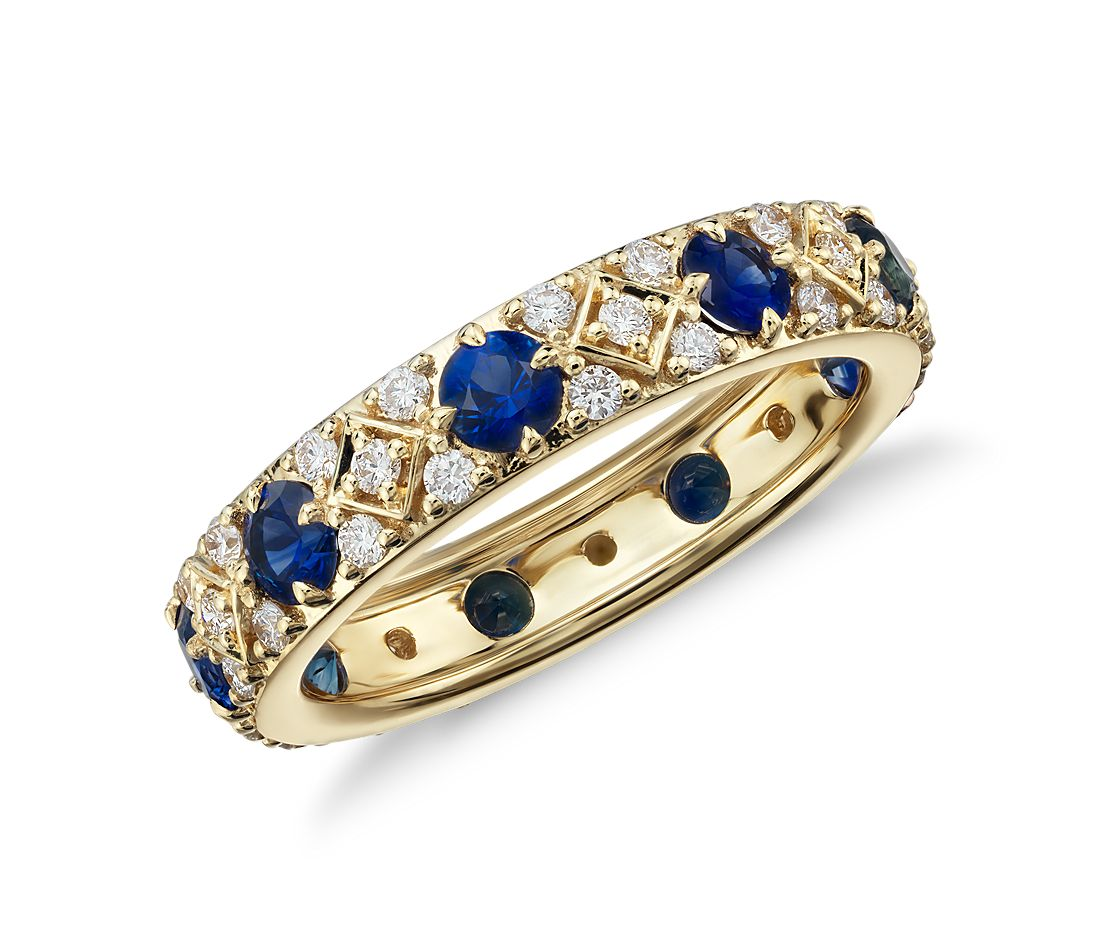 Starlight Sapphire and Diamond Eternity Ring in 18k Yellow Gold