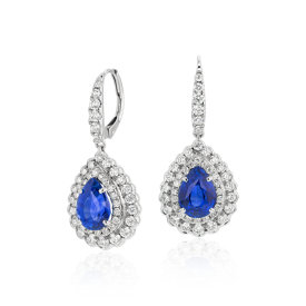 NEW Sapphire and Diamond Floral Earrings in 18k White Gold (3.96 ct. tw.)