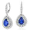 Sapphire and Diamond Floral Earrings in 18k White Gold (3.96 ct. tw.)