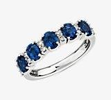 蓝宝石和钻石五石戒指